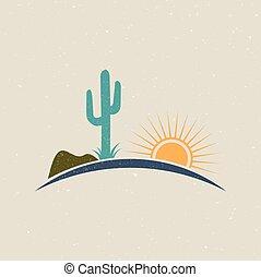 grafisch, ouderwetse , illustratie, style., ontwerp, logo, woestijn, vectoir