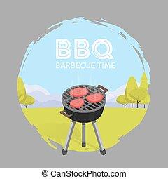 grafisch, ouderwetse , illustratie, vector, tijd, barbecue, bbq