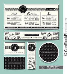 grafisch, restaurant menu, broodje, vastgesteld ontwerp, mal