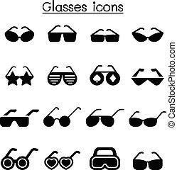 grafisch, set, illustratie, vector, ontwerp, pictogram, bril