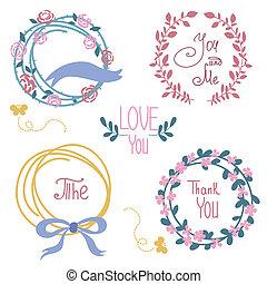 grafisch, set, pijl, krans, bloemen, trouwfeest