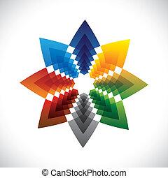 grafisch, ster, kleurrijke, abstract, symbol-, creatief, vector, ontwerp