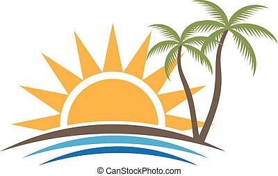 grafisch, strand, tropische , vector, ondergaande zon , ontwerp, logo.