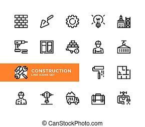 grafisch, symbolen, eenvoudig, pixel, vector, bouwsector, schets, ontwerp, perfect, set, lijn, elements., icons.