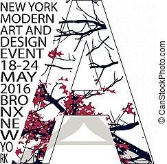 grafisch, tee, typografie, ontwerp, york, nieuw