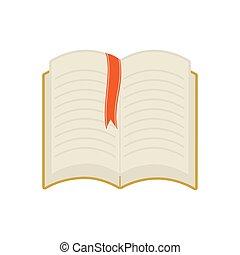 grafisch, vector, leren, icon., het boek van de lezing, lint