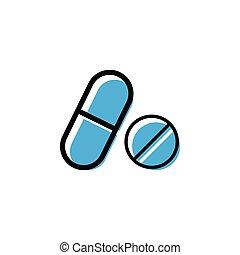 grafisch, vector, ontwerp, mal, geneeskunde, pil, pictogram