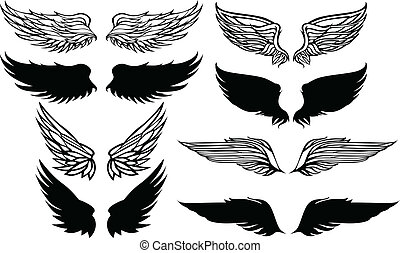 grafisch, vector, set, vleugels