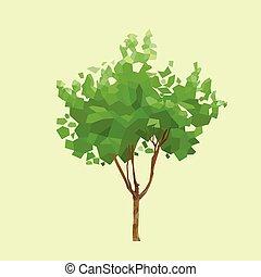 grafisch, veelhoek, bladeren, boompje, vector, groene