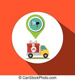 grafisch, verpakken, knoop, vector, vrachtwagen, pictogram, design.