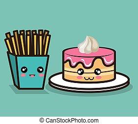 grafisch, voedingsmiddelen, bakken, vasten, ontwerp, taart, spotprent