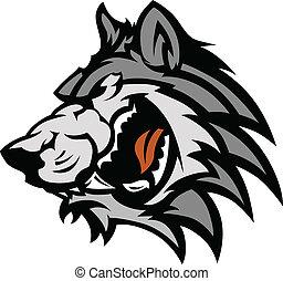grafisch, wolf, mascotte