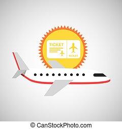 grafisch, zon, symbool, schaaf, ontwerp, witte , ticket, reizen