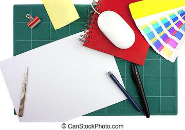 grafische designer, schreibtisch