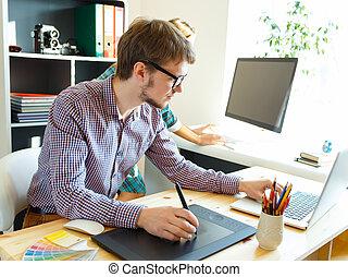 grafische tabel, kunstenaar, jonge, iets, tekening