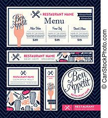 grafisk, bon, restaurang meny, set formge, mall, appetit