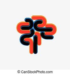 grafisk, färgrik, abstrakt, hjärna, vektor, mänsklig, ikon
