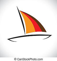 grafisk, färgrik, segla, kanot, vektor, sea-, eller, båt, ...