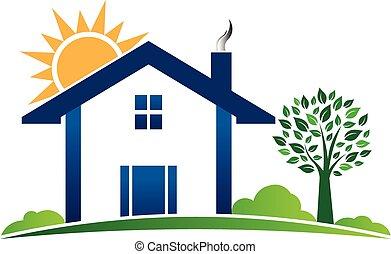 grafisk, hus, illustration, tillflykt, vektor, logo., stuga