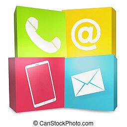 grafisk, ikonen, färg, oss, skapande, kontakta