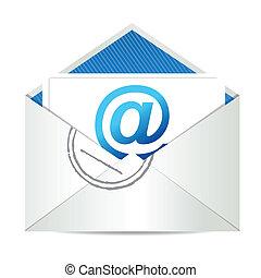 grafisk, illustration, brev, e-post
