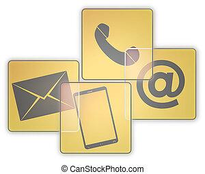 grafisk, knapp, oss, skapande, kontakta, design, ikon