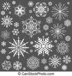 grafisk konst, snöflingor, snö flinga, vektor, icons., kollektion, jul