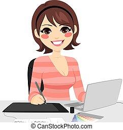 grafisk konstruktør, kvindelig