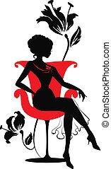 grafisk, kvinna, silhuett