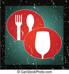 grafisk, mat, dricka, eller, prata, ikon