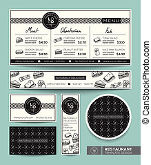 grafisk, restaurang meny, sandwich, set formge, mall
