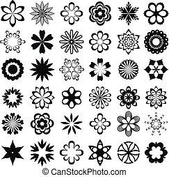 grafisk, sätta, blomma, elementara