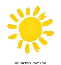 grafisk, spiral, illustration, hand, vektor, sun., shinny, ...
