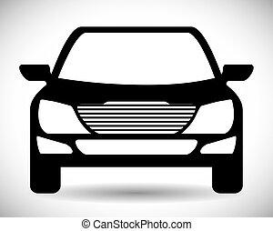 grafisk, transport, bil, vektor, svart, icon., design.