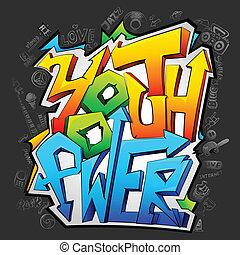grafiti, con, juventud, potencia