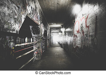 grafiti, dentro, krog, calle, túnel, en, atlanta, georgia.