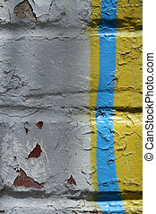 grafiti, detalle, en, un, peladura, pared pintada