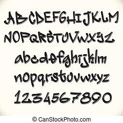 grafiti, fuente, alfabeto, abc, cartas