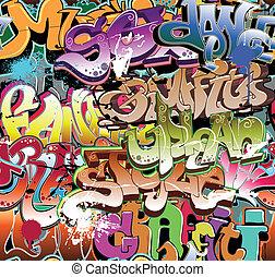grafiti, městský, grafické pozadí, seamless