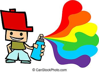 Grafitti cartoon boy - Cartoon guy spraying on white...