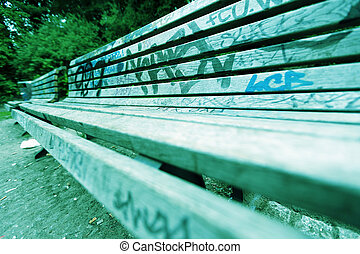 Grafitti Covered Benches - Cross-Process (Xpro)