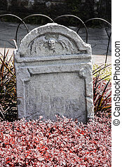 grafsteen, en, graven, in, een, oud, kerk, graveyard