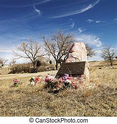 grafsteen, met, flowers.