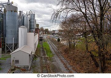 Grain Bins at a Feed Mill
