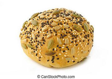 grain bread on white background