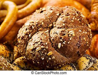 fresh bun with grain
