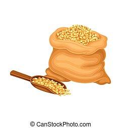 grain, céréale, récolte, vecteur, processus, sac, production, illustration, bière, récolte