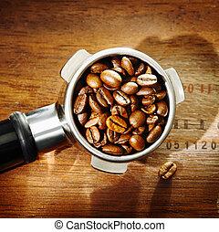 grain café, texture, détail