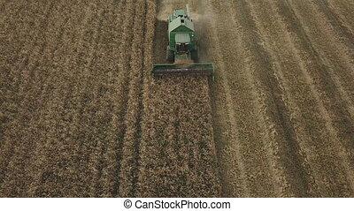 grain combine cleaning - combine harvesting a bird's eye