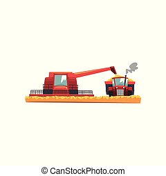 Grain combine harvester and tractor working in field, agricultural machinery vector Illustration on a white background